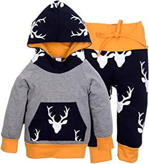 Lot de 2 rennes de Noël enfant fille garçon Sweat à capuche TOPS Ensemble pantalon + (100)