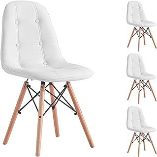 IDIMEX Lot de 4 chaises Cesar pour Salle à Manger ou Cuisine avec 4 Pieds en Bois et Assise capitonnée, revêtement synthét...