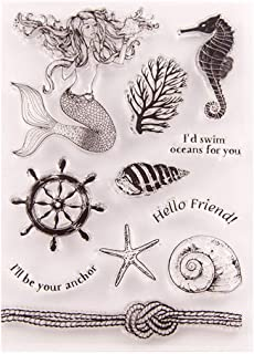Seaworld Anchor Mermaid Sea Horse Sea Star Stamps Rubber Clear Stamp/Seal Scrapbook/Photo Album Decorative Card Making Clear Stamps