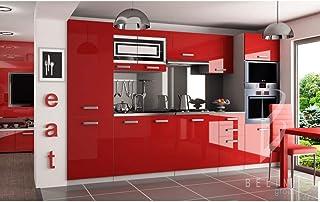 Hucoco Prisma | Cuisine Complète Modulaire + Linéaire L 300cm 8 pcs | Plan de Travail Inclus | Meubles colonnes Four + fri...