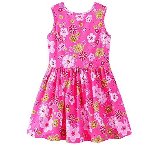 HAOKTY Kinder Mädchen Ärmellos Blumen Kleid Prinzessin Dress Casual T-Shirt Frühlings Sommer Herbst Cocktailkleid (98/104)
