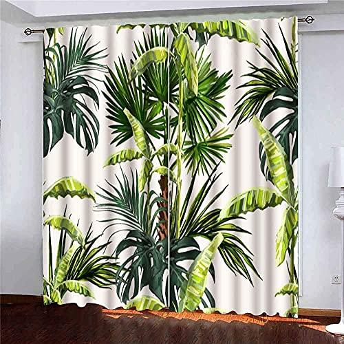 Vackert blommigt sommarmönster palmer bananträd kokosnöt löv perfekta tapeter webbsida fönster gardin paneler barn pojkar flickor 2 paneler för vardagsrum sovrum dekor