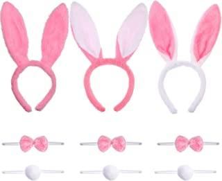 3 Sets Bunny Ears Headbands Tails and Bow Tie for Easter Costume Props Supplies (Color Set 2)