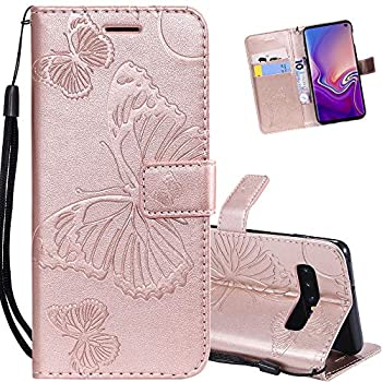 EMAXELER Samsung Galaxy S6 Edge Plus Case Shockproof PU Leather Retro 3D Butterfly Embossed Wallet Flip Case Magnetic Stand with Card Slot Folio Cover for Galaxy S6 Edge Plus Butterfly Rose Gold KT