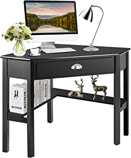 Tangkula Corner Desk, Corner Computer Desk, Wood Compact Home Office Desk, Laptop PC..