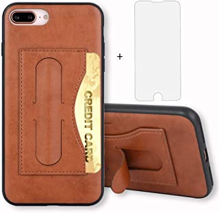 iPhone 7 Plus/8 Plus Case i Phone Cases Wallet Leather with Credit Card Holder Slot and Tempered Glass Screen Protector Stand Protective Cover for Apple iPhone8plus 7s 7plus 8s 8plus 5.5 inch Brown