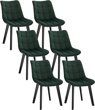 EUGAD 6 X Chaises Salon à Manger Pieds en Bois et Surface en Velours,Chaises de Salle à Manger Vert Foncé Polyvalent,0657BY-6
