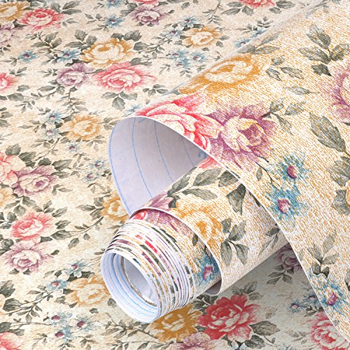 Product Image of the yazi Floral Contact Paper Shelf Liner self-Adhesive Christmas Decorate Drawer Contact Paper Decorative,17x78 Inches,Vintage Peony