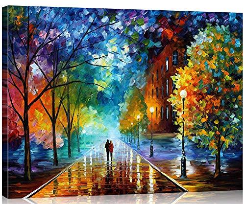 Suntown Holzrahmen Malen nach Zahlen 40 x 50cm DIY Leinwand Gemälde für Erwachsene und Kinder mit 3 Bürsten und Acrylfarben - Romantische Straße (Leinwand ist Vormontiert)