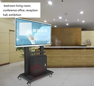 Rolling TV Stand Mobile TV Cart, Height Adjustable with Shelf for LCD LED Flat Screens TV Stand Mount with Wheels Fits 46&#34