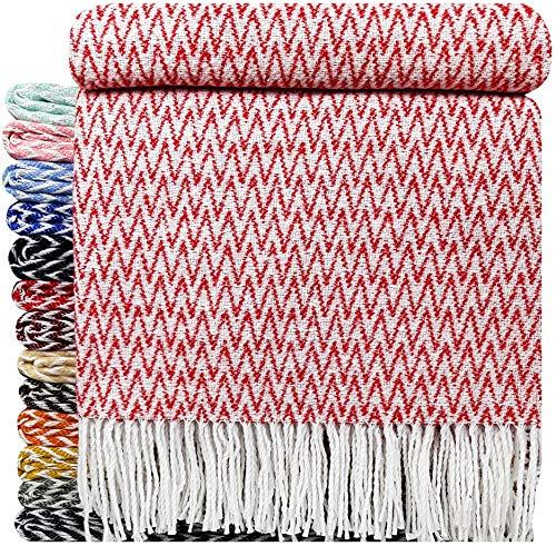 STTS Baumwolldecke Wohndecke Kuscheldecke Tagesdecke 100prozent Baumwolle 140 x 200 cm sehr weiches Plaid (Rot zick-Zack)