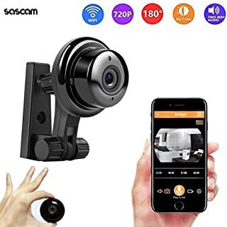 Mini Wireless Hidden Camera HD 720P Surveillance Camera Small Camera, Fisheye WiFi Security Camera with Night Vision/Two-Way Call/Motion Detection, Home Car Office for iOS&Android(Black)