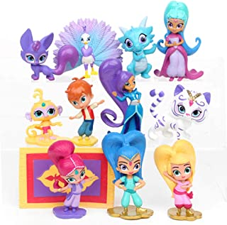 TOYFORU Shimmer and Shine Figure Playset 12pcs Cake Toppers Party Supplies Birthday Decorations Genies Shimmer, Shine, Zac,Leah,Tala, Kaz and More Toys