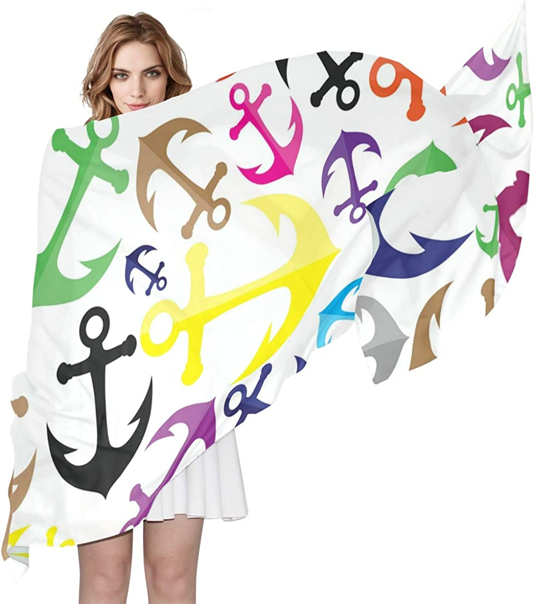 XLING Fashion Scarf Colorful Abstract Anchor Pattern Long Lightweight Sunscreen Scarf Shawl Wrap Muffler Neckerchief for Women Men