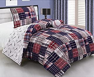 Grand Linen 3 - Piece Kids Twin Size Baseball Sports Theme Comforter Set with Plush Toy Included-Navy Blue, Red, White and Beige Plaid. Boys, Girls, Guest Room and School Dormitory Bedding