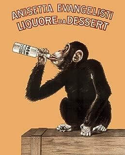 Anisetta Evangelisti Liquore Da Dessert Vintage 1925 Italian Advertising Monkey Cool Huge Large Giant Poster Art 36x54