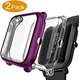 Kmasic Compatible Bip Case,2-Pack TPU Plated Screen Protector Rugged Cover [Scratch-Proof] All-Around Protective Compatible Bip Smartwatch (Transparent + Purple 2 Pack)