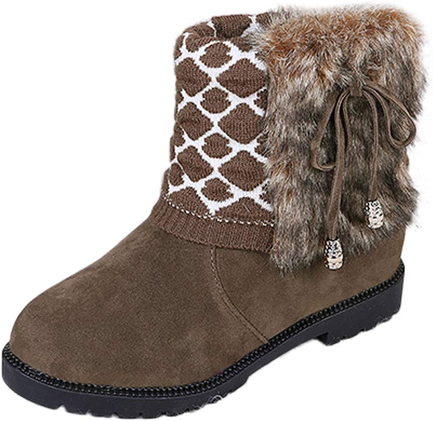 A-LING Snow Boots,Women's Snow Boots Flat Slip On Platform Ankle Boots