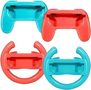 Kit Par Volante e Par Grip Joy Con Nintendo Switch Vermelho e Azul