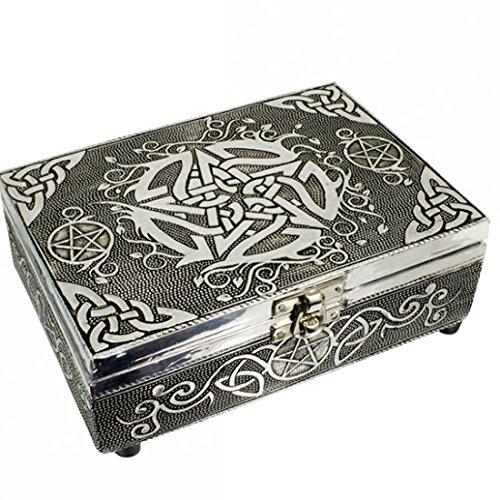 Find Something Different Etwas Finden Verschiedene Holz geprägt Silber Finish Keltisches Pentagramm Tarot Box, Mehrfarbig
