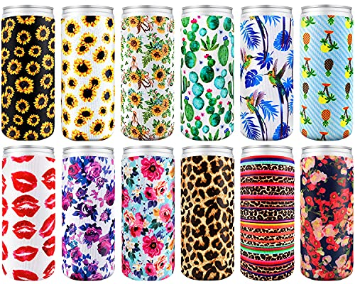 12Pcs Skinny Can Tall Sleeves, Insulated Neoprene Slim Can Cover Cooler, Swig Can Sleeves For 12Oz Skinny Tall Bottle Like Red Bull, White Claw, Slim Beer And Seltzer Water