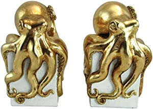 Unison Gifts Upg-478 7.25 Inch Gold Color Octopus Bookends, Set of 2