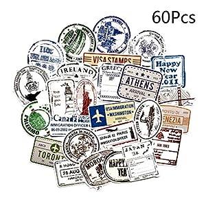 chenpaif 60Pcs Vintage Graffiti Stamps Paper Sticker Travel Hand Cuenta Cuaderno Estuche para teléfono Libro de Recuerdos Decoraciones Retro Regalos Turismo