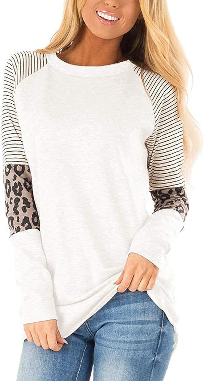 TODOLOR Seasonal Quantity limited Wrap Introduction Women's Long Sleeve Leopard Color Tunic Roun Block Print