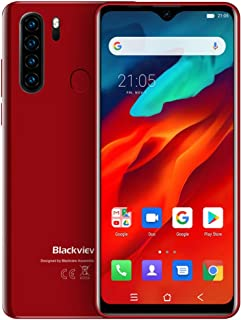 Blackview A80 Pro, 4GB+64GB Quad Rear Cameras, Face ID & Fingerprint ID, 4680mAh Battery, 6.49-inch Waterdrop Screen Android 9.0 Pie Helio P25 4G, Dual SIM (Red)