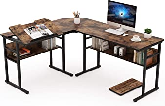 Best Tribesigns Industrial L-Shaped Desk with Bookshelf, 67 inch Double Corner Computer Office Desk Workstation Drafting Drawing Table with Tiltable Tabletop for Home Office(Rustic Brown) Review