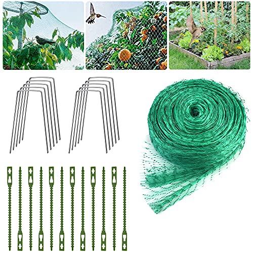 EMAGEREN Vogelschutznetz 4M x 10M Grünes Gartennetz Vogelnetz Engmaschiges Obstbaumnetz Erbsenetz Teichnetz Pool Netz mit Kabelbindern und U-förmigen Stiften, Schützt Obstbäume vor Vogelfraß