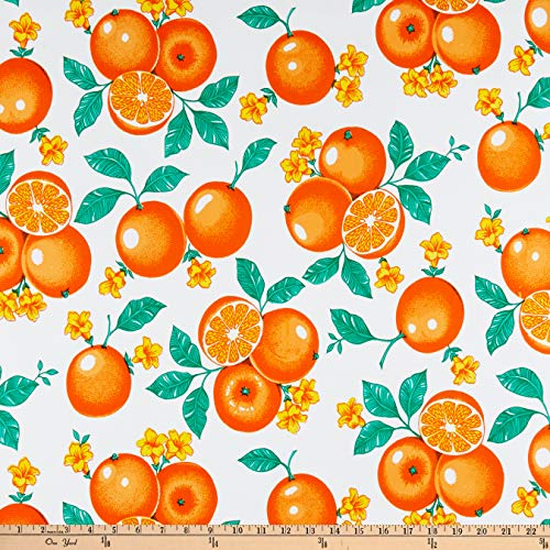 Oil Cloth International White Oilcloth Oranges Fabric by The Yard