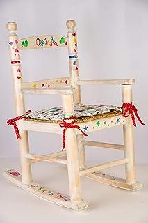Sedia a dondolo per bambini in legno dipinta a mano. Sedia a dondolo per bambini personalizzata. Mobili per bambini in leg...