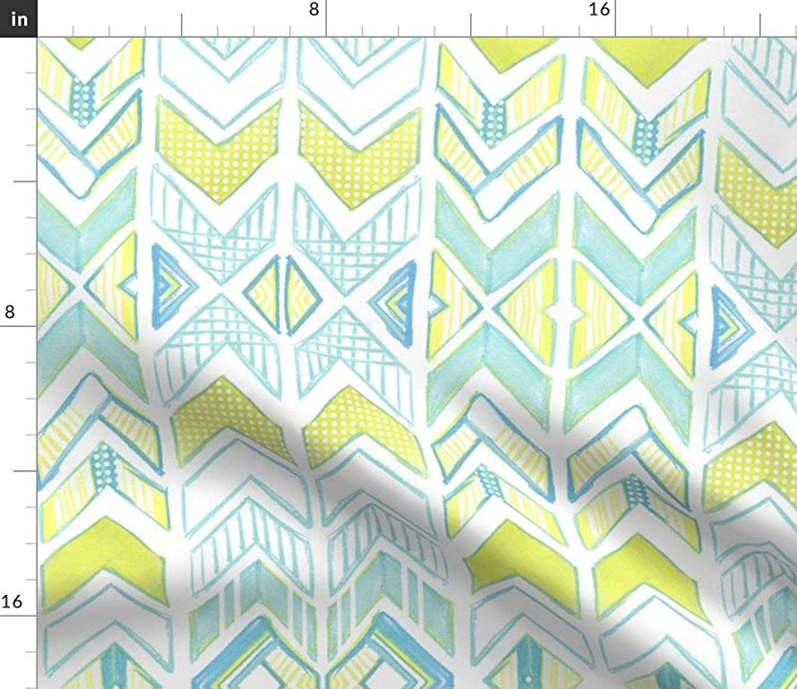 Spoonflower Chevron Fabric - Arrow Chalk Stripes Triangle Tribal Print on Fabric by The Yard - Linen Cotton Canvas for Sewing Home Decor Table Linens Apparel Bags