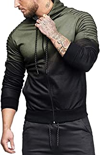 Mens' Autumn Winter Long Sleeve Cotton Polyester Splicing Fold Hooded Top Blouse Tracksuits Sweatshirts