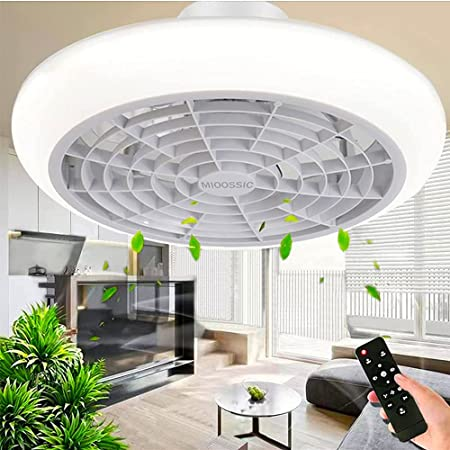 Ventilateur de plafond avec éclairage LED, vitesse de vent réglable, intensité variable avec télécommande, plafonnier LED moderne pour chambre à coucher, salon, salle à manger, blanc