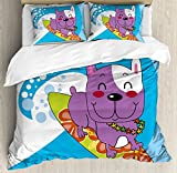 Ambesonne Ride The Wave Duvet Cover Set, French Bulldog Surfing and Smiling Happy Adventure Exotic Dog Cartoon, Decorative 3 Piece Bedding Set with 2 Pillow Shams, Queen Size, Purple Blue