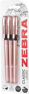 Zebra Classic Rose Gold Ballpoint Pens Black Ink Pack of 3