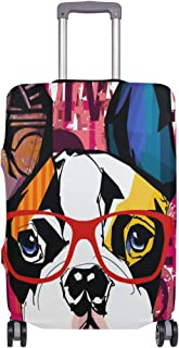 Mydaily French Bulldog Wearing Sunglasses Luggage Cover Fits 29-32 Inch Suitcase Spandex Travel Protector XL