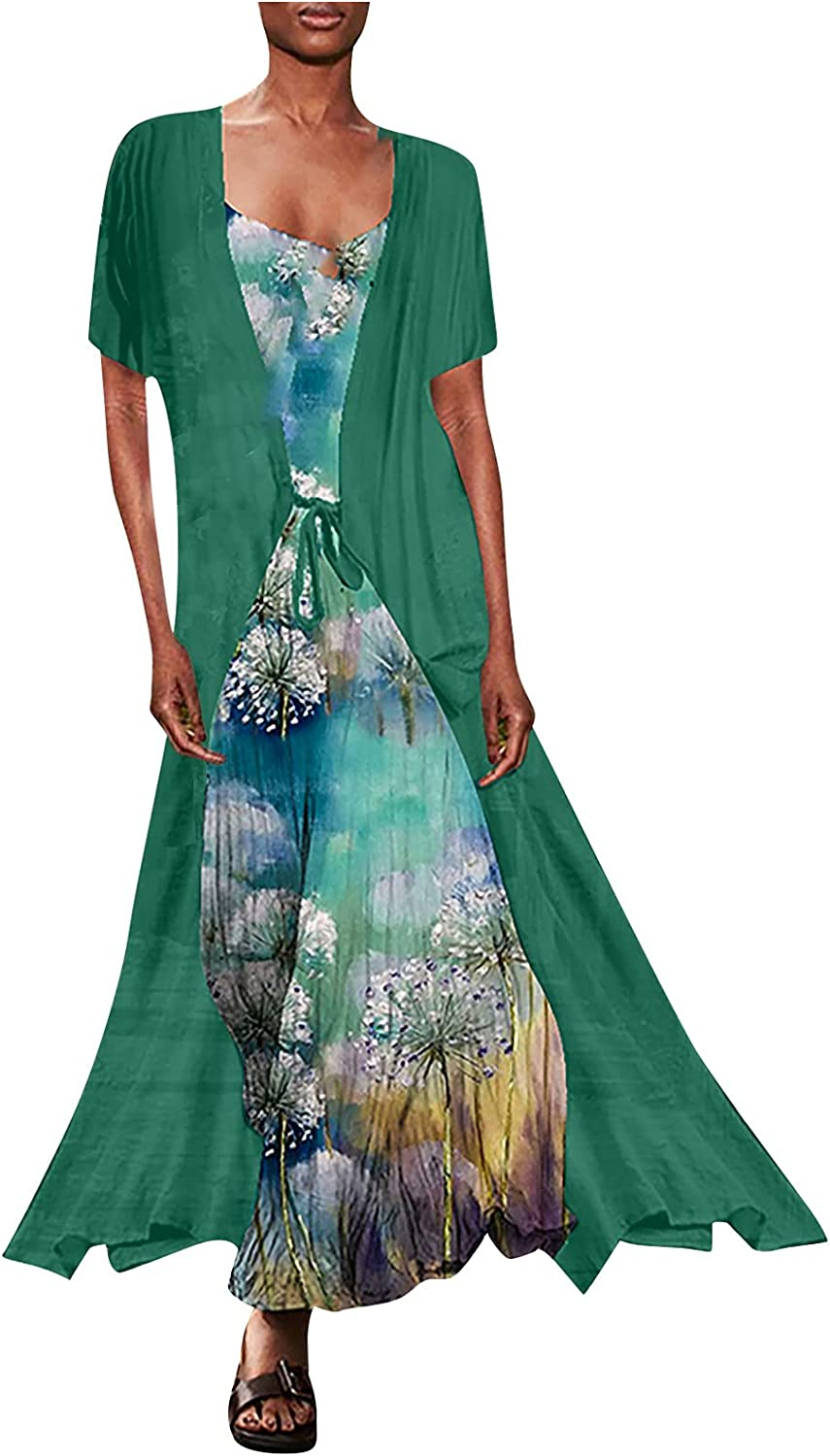 GOODTRADE8 Summer Dresses Maxi Dress Women's Casual Chiffon Short Sleeve Loose Two-Piece Dress with Straps