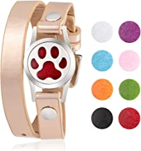 MEMGIFT Essential Oil Diffuser Bracelet Aromatherapy Leather Wrap Stainless Steel Aromatherapy Magnetic Locket Bangle Birthday Gifts for Women Teen Girls 8 Colors Pads