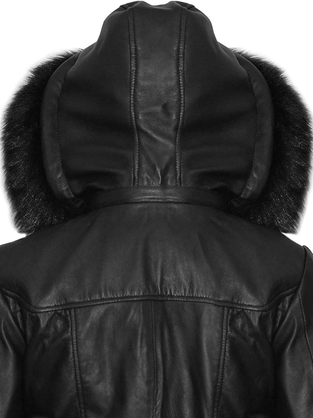 SNA Collection Sheeny Womens Faux Fur Hooded Long Coat Leather Jacket