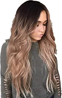 Wigs for Sale, Bxzhiri Ombre Wig Black to Light Brown Side Part Long Wavy Wig Heat Resistant Synthetic Daily Party Wig for Women Hair Extensions