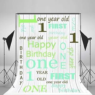 GooEoo 3×5フィートLfeeyビニール写真背景背景木の板木のストライプお誕生日おめでとうございます1歳赤ちゃん新生児パーティーお祝い抽象画パーソナルスタジオフォト小道具1x1.5m
