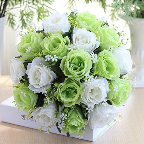 Wffo Flores de Rosas Artificiales de Seda 18 Cabezas, Ramo de Novia, Rosas para decoración del hogar, Boda