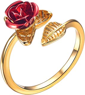 U7 Cute Red Rose Flower Charm Bracelet Earrings Pendant Necklace Open Ring 18K Gold Plated Rosa Jewelry Gift for Women Girls Bridesmaid