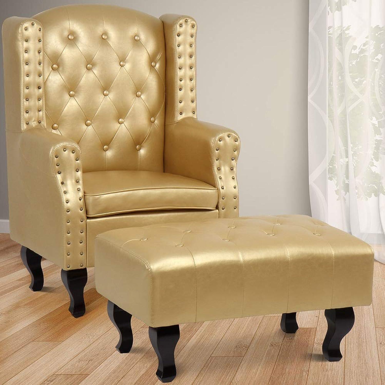 MIADOMODO Chesterfield Ohrensessel Vintage mit Hocker in Gold  Relaxsessel, Fernsehsessel, Clubsessel, Polstersessel im klassischen Design aus Eco-Leder