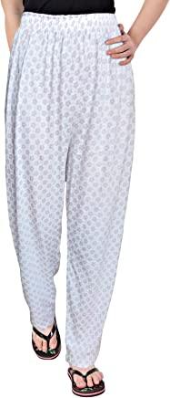 Fflirtygo Women Pyjamas, Night Dress, Lounge Wear, White Color Printed Pyjama,–Soft Cotton Night Wear
