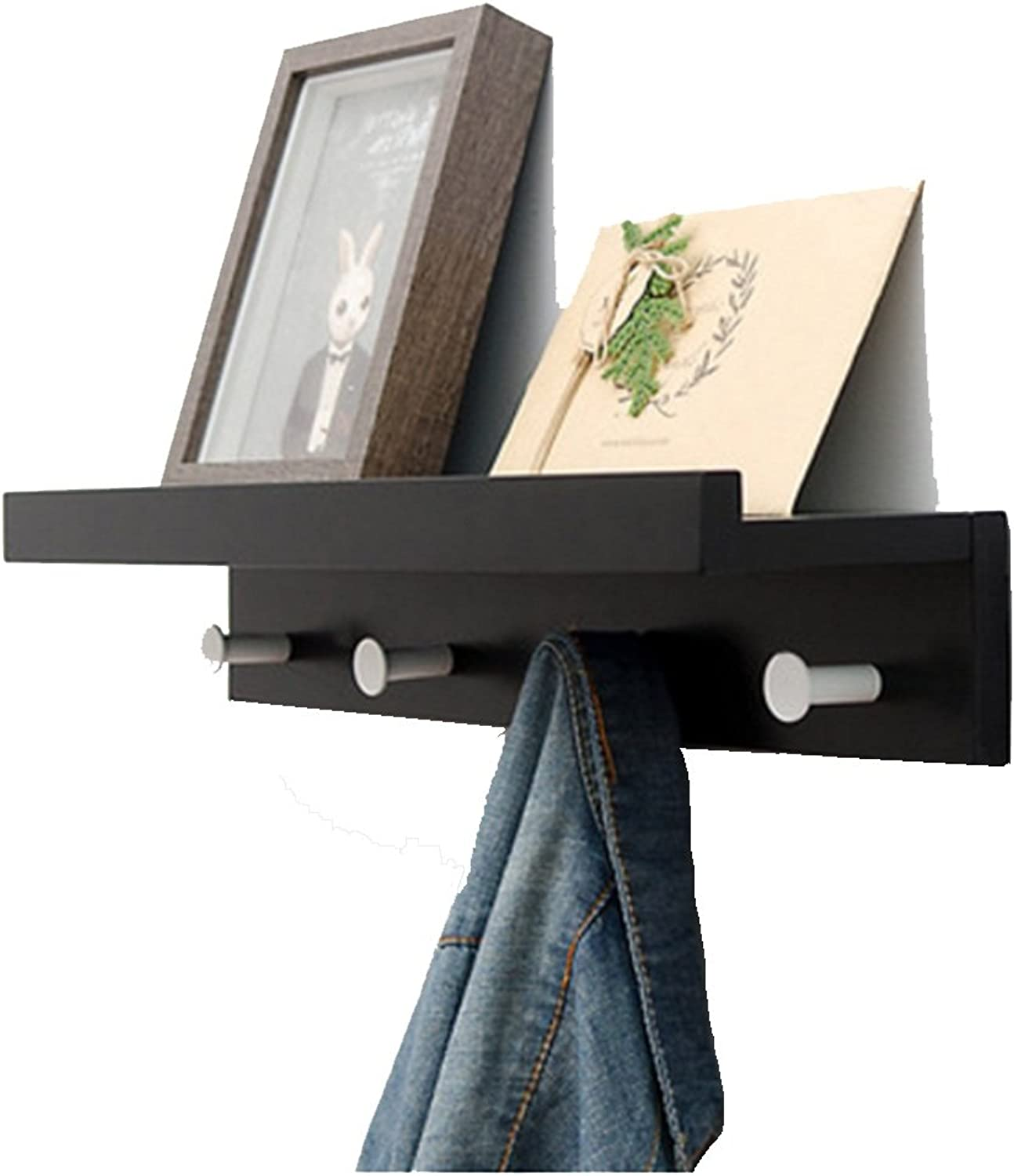 Nanianhuakai Black Hook Wall Mounted Coat Hook Coat Rack Creative Wall Hanger Entrance Shelf Clothes Hanging Wall Coat Hook Multi-Functional Clothing Rack (Size   4 Hooks)