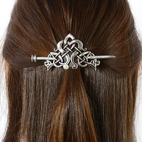 Viking Celtic Crown HairPins Clip- Viking Hair Accessories Celtic Knot Hair Barrettes Antique Silver Hair Sticks Irish Hair Decor for Long Hair Jewelry Braids Hair Clip With Stick (ID-C)